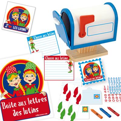 boite aux lettres en bois avec m mos et affiches de lutins boutique educatout. Black Bedroom Furniture Sets. Home Design Ideas