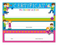 Certificat de bonne action