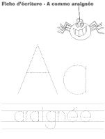 Fiches d'écriture - A comme araigné