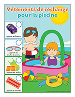 Affiche-Vêtements de rechange piscine