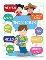 Affiche bonjour en plusieurs langues
