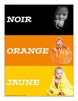 Affiche thématique poupons-Noir orange jaune