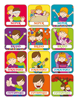 Autocollants miniatures pour récompenses-Journée de l'enfant
