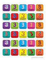 Autocollants-miniatures pour récompenses-Le chiffre 3