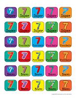 Autocollants miniatures pour récompenses-Le chiffre 7