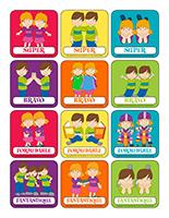 Autocollants miniatures pour récompenses-Les jumeaux