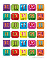 Autocollants pour récompenses-Le nombre 11