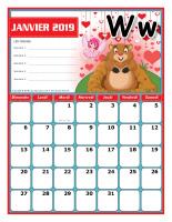 Calendrier thématique-janvier à décembre 2019