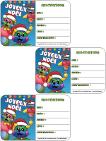 Carte - invitation - Noël - Poni