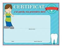Certificat-J'ai perdu ma première dent 2018