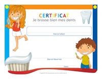 Certificat-Je brosse bien mes dents