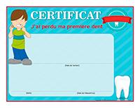 Certificat interactif-J'ai perdu ma première dent