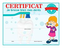 Certificat interactif-Je brosse bien mes dents