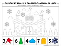 Cherche et trouve à colorier-Châteaux de neige