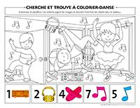 Cherche et trouve à colorier-Danse