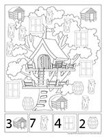 Cherche et trouve à colorier-Les cabanes