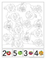 Cherche et trouve à colorier-Pommes