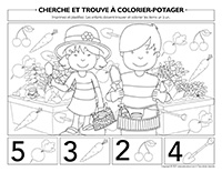 Cherche et trouve à colorier-Potager