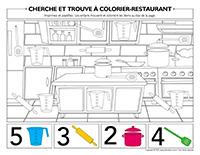 Cherche et trouve à colorier-Restaurant