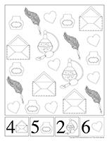 Cherche et trouve à colorier-Saint-Valentin-Lettres d'amour