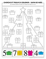 Cherche et trouve à colorier-Sapin de Noël