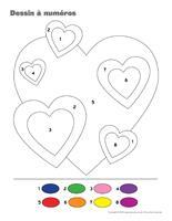 Dessin à Numéros-Coeurs en couleurs