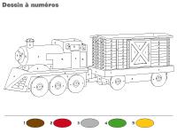 Dessin à Numéros-Les trains