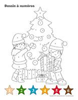 Dessin à Numéros-Noël-Le partage