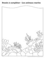 Dessin à compléter-Les animaux marins