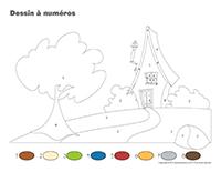 Dessin à numéros-Les cabanes
