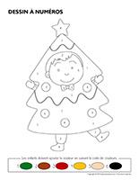 Dessin à numéros-Sapin de Noël