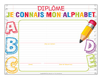 Diplôme-Je connais mon alphabet