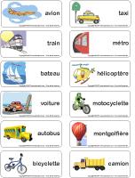 Étiquettes-mots - Les moyens de transport