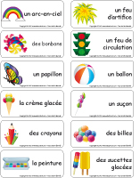 Étiquettes-mots-Juillet multicolore