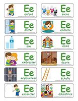 Étiquettes-mots-Lettre E