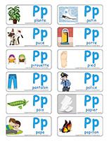 Étiquettes-mots-Lettre P jeux décoration activité