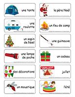 Étiquettes-mots-Noël des campeurs