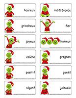 Étiquettes-mots-Noël-heureux ou grincheux