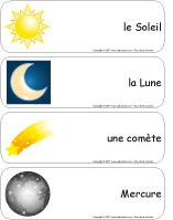 Étiquettes-mots géants - Les astres