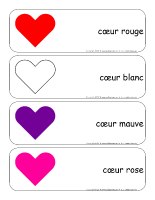 Étiquettes-mots géants-Coeurs en couleurs