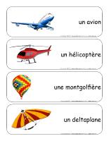 Étiquettes-mots géants-Le transport aérien