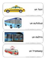 Étiquettes-mots géants-Le transport en commune