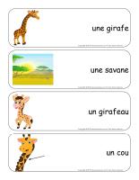 Étiquettes-mots géants-Les girafes