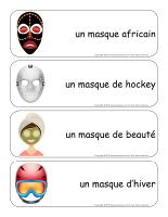 Étiquettes-mots géants-Les masques