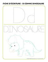Fiche d'écriture-D comme dinosaure