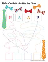 Fiches d'activité-La fête des Pères