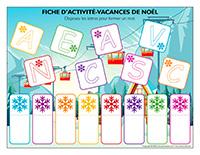 Fiches d'activité-Vacances de Noel