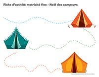 Fiches d'activité motricité fine-Noël des campeurs