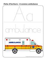 Fiches d'écriture-A comme ambulance