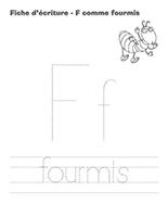 Fiches d'écriture-F- omme fourmis